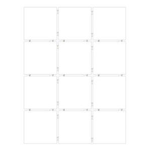 1146 | Конфетти белый блестящий, полотно 30х40 из 12 частей 9,9х9,9