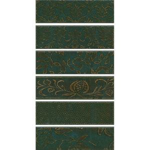 AD\E333\6x\2914 | Панно Кампьелло зеленый, состоит из 6 частей 8,5х28,5 (размер каждой части)
